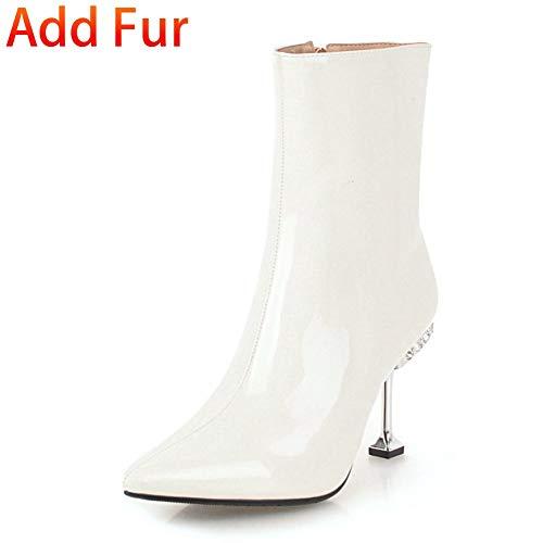 En Zapatos Tacones Botas Tamaño Más 32 De Thick Nuevo 43 With Hoesczs Piel Mujer Altos Botines Fur White Punta Invierno Añadir 40zWOqE5