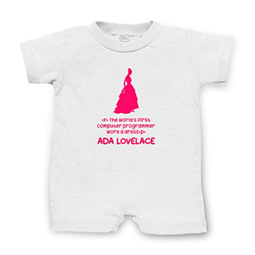 - Ada Lovelace - The World's First Computer Programmer Wore A Dress Short Sleeve Taped Neck Boys-Girls Cotton Infant Romper - White, 24 Months