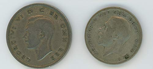 UK 1929 & 1948 Lot of 2 Great Britain Coins One Silver Florin & Half Crown VF