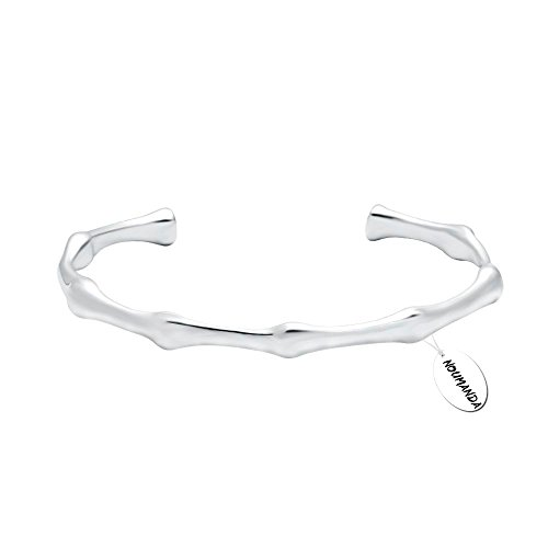 NOUMANDA Open Bamboo Joint Cuff Bangle Bracelet (Silver) (Bangle Silver Bracelet Bamboo)
