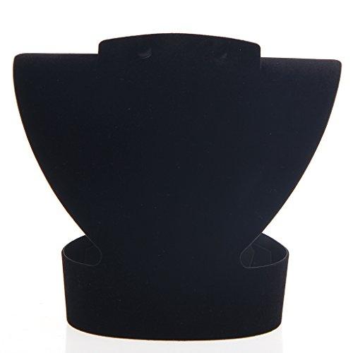 Lamdoo Folding Velvet Jewelry Necklace Bust Earring Display Holder Stand Rack Show Case Black