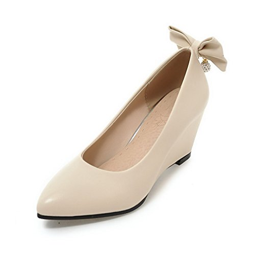 Odomolor Women's Solid PU High-Heels Pointed-Toe Pull-On Pumps-Shoes, Beige, 33