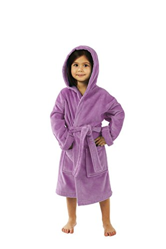 Le Top Hooded Robe (TurkishTowels Terry Velour Hooded Kids Bathrobe (Ages 3-6 S/M, Purple))