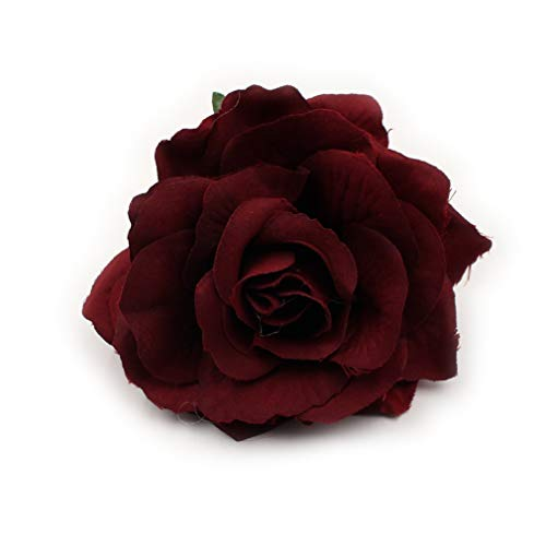 Artificial Flower Big Silk Blooming Roses Head Wedding Decoration DIY Party Festival Home Decor Wreath Gift Scrapbooking Craft Flower 8pcs/lot 10cm (Burgundy) ()