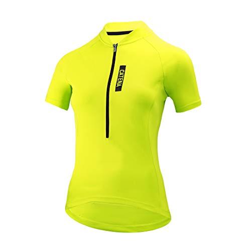 CATENA Women's Cycling Jersey Short Sleeve Shirt Running Top Moisture Wicking Workout Sports T-Shirt Yellow, X-Large