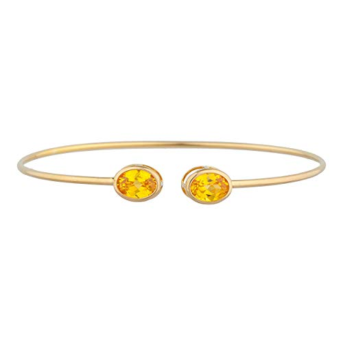 14Kt Gold Simulated Yellow Citrine Oval Bezel Bangle Bracelet