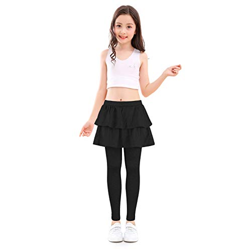slaixiu Girls Ruffle Skirt Stretchy Leggings Skirtpants 4-11 Years(GP12_Black_150) -