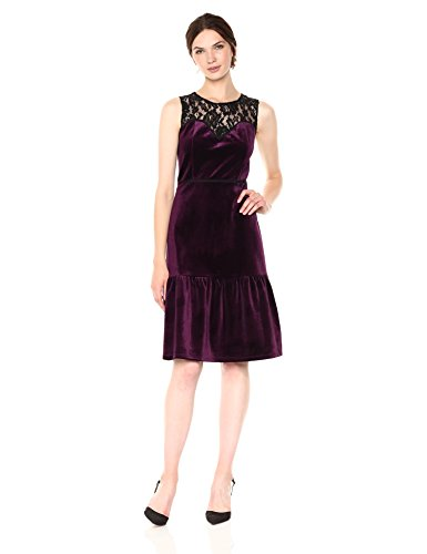 Lace Dress Flounce (Nanette Nanette Lepore Women's Sleeveless Velvet Dress W/Flounce Hem & Lace Yoke, Plum/Very Black, 8)