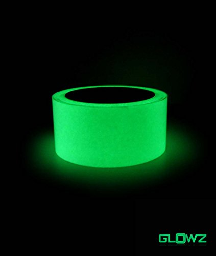 Top Glowz Glow in the Dark Photoluminescent Green Luminous Tape 30' ft Length x 1 Inch Wide High Luminance, Waterproof, Removable free shipping