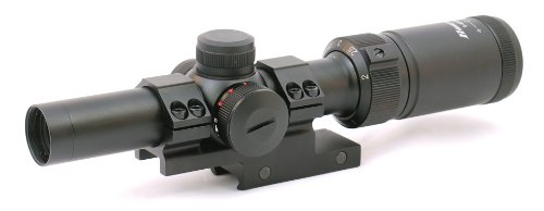 Hammers 1-4x20 Compact Short Rifle Scope w/Illuminated Etched Glass Donut Dot Reticle Offset Scope Mount ()