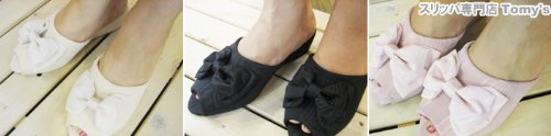 wooden Made bow Black w in heel Moire slippers Heeled satin Japan mule 4zOZq