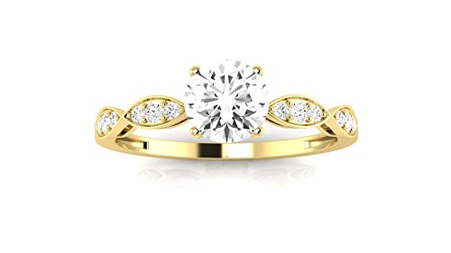 0.45 Carat t.w. 14K Yellow Gold Round Petite Curving Diamond Engagement Ring H-I VS1-VS2 - 0.45 Ct Tw Round Diamonds