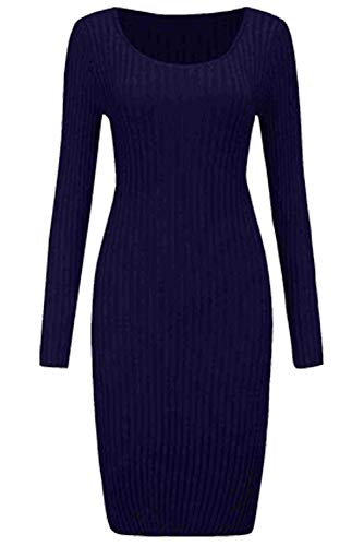 Longues Cocktail Tricot Manches Mini Party Line Femme Cszz Mince Blouse de Sweater Robe Haut Hiver Tunique Pull Jumper Casual BienBien Bleu Pull Automne Over Fonce Tricot A Robe Robe nqUXaP
