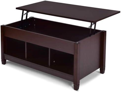 Amazon Com Lordbee Brown New Large Wood Lift Top Coffee Table