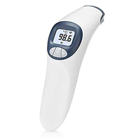 MeasuPro No Contact Forehead Thermometer for Babies and Adults with Customizable Fever Alert, Digital Infrared Non Contact Temperature Device, CE and FDA Approved