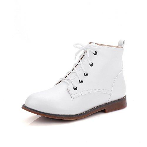 Heel Toe Shape Toe Imitated Round Boots Cone Round Fashion Womens AdeeSu White Leather xwX8qfY6