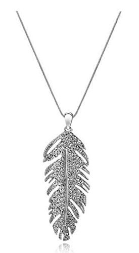 Godyce Feather Pendant Necklace for Women Girl Sterling Silver Plated ()