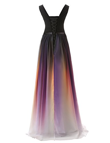honor para para 40 gasa Vestido de de V Gradient dama mujer transparente noche formal vestido maxi CSD231 degradado Clearbridal vestido de Ausschnitt YIaq1xvx