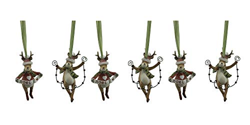 - Comfy Hour Set of 6 Reindeer Holding Balls and Noel Banner Christmas Tree Ornaments, Xmas Decoration Party Decor, Multi Color