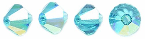 Preciosa Czech Crystal Bicone Beads Set, 5 by 5mm, Indicolite Aurora Borealis Finish. 144-Pack