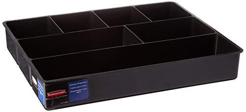 (Rubbermaid Extra deep Desk Drawer Director Tray, Black, Pack of 6)