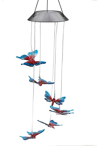 Color-Changing LED Solar Mobile Wind Chimes, PGCOKO Hanging Waterproof Six Butterfly Solar Powered LED Light Wind Chimes for Outdoor Indoor Home yard Garden Decoration by PGCOKO