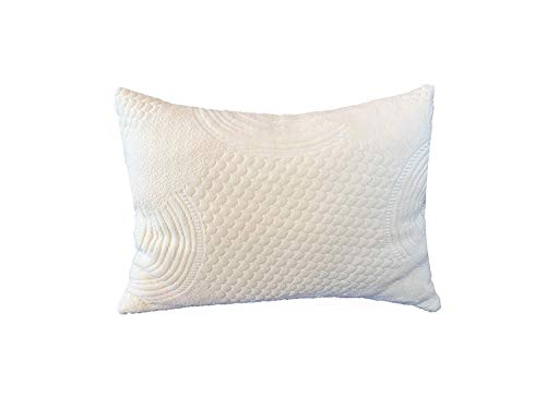 [New Cover] Mixed Shredded Latex & Organic Cotton Filled Pillow with Premium Organic Cotton Cover Protector, Standard Size, Toxic Free Sleep and ()