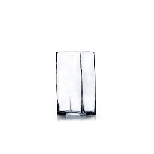 Vase 8 Square (WGV Clear Square Block Glass Vase, 4 by 8-Inch)