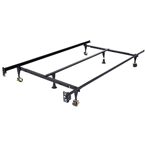 Metal Frame Adjustable Queen Full Twin Size 7-Leg Bed Locking Wheels Sale New Cen W/ Center Support