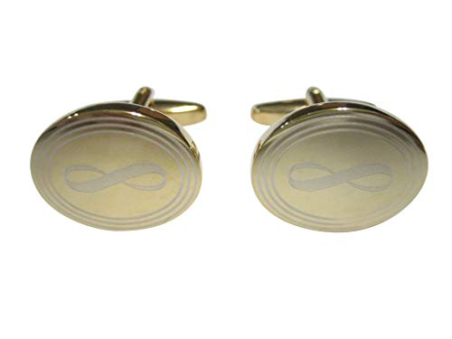 Kiola Designs Gold Toned Etched Oval Mathematical Infinity Google Googol Symbol Cufflinks