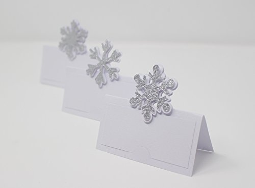 All About Details Snowflakes Place Cards, 12pcs, Winter Theme Party, Frozen Theme, Food Cards (Silver)