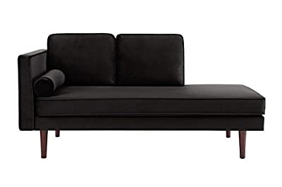 DHP Nola Mid Century Modern Upholstered Daybed and Chaise, Multifunctional and Versatile, Black Velvet