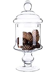 """Diamond Star Apothecary Glass Candy Jar with Lids, Candy Buffet Display Elegant Storage Jars, Decorative Wedding Candy Canisters (Height: 12\"""" Body: 6\"""")"""