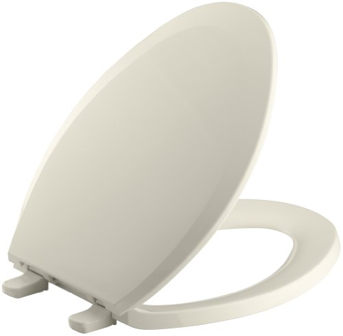 KOHLER K-4652-47 Lustra Elongated Closed-Front Toilet Seat, Almond