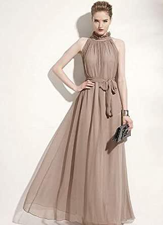 Women Dress Sleeveless Collar Dress Khaki Color Dress