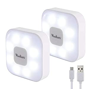 Wonhots Micro USB Rechargeable Tap Lights, Dimmable 8 LED Super Bright Night Light 80lumens, Cordless Under Cabinet…