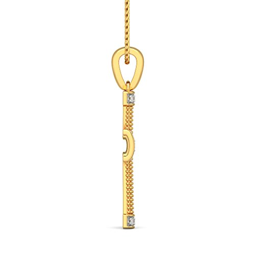14 K Or jaune 0.18 CT TW Round-cut-diamond (IJ | SI) Pendentif