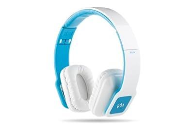 VM Audio Elux On Ear DJ Stereo Bass Headphones for MP3 iPod Piano White Blue