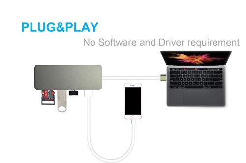 MacBook Pro USB C Adapter,Macbook Pro USB C Hub, INNOMAX MacBook USB Type C Hub(Gray) with Mini SD Card Reader, SD Card Reader, 3 USB 3.0 Ports for 2016, 2017 MacBook Pro,Chromebook Pixel, and more Photo #4