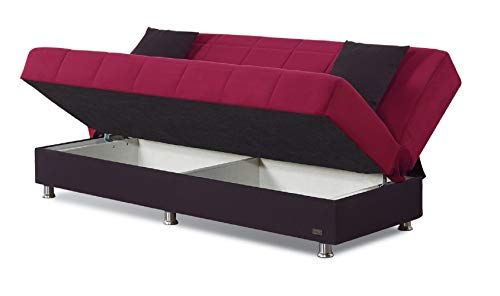 BEYAN Chicago Collection Modern Armless Convertible Sofa Bed with Storage Space, Includes 2 Pillows, Burgundy