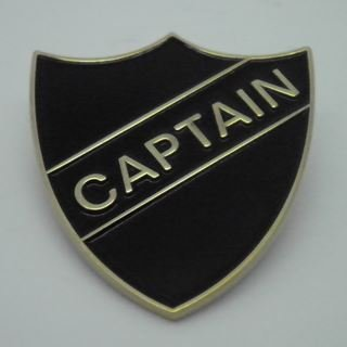 Captain Enamel School Shield Badge - Black - Pack of 5