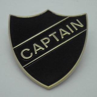 Captain Enamel School Shield Badge - Black - Pack of 5 by Lapal Dimension