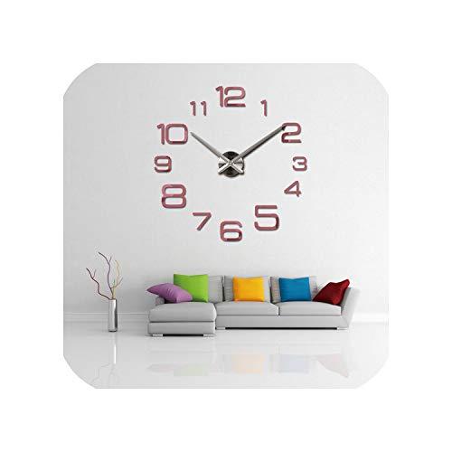 Wenzi-day Wall Clock Modern 3D Big Quartz Watch Clocks Living Room Large Clocks Home Decoration,Pink,27 inch