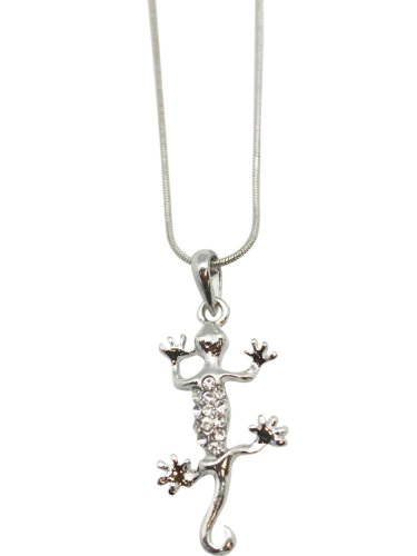 (Clear ) Rhinestone Gecko Lizard Necklace ()