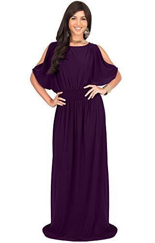 (KOH KOH Plus Size Womens Long Split Flowy Short Sleeve Elegant Cocktail Loose Maternity Casual Summer Sexy Sundress A-line Modest Dressy Gown Gowns Maxi Dress Dresses, Purple XL 14-16)
