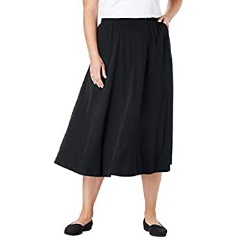 Woman Within Plus Size Petite 7-Day Knit A-Line Skirt - Black, 1XP