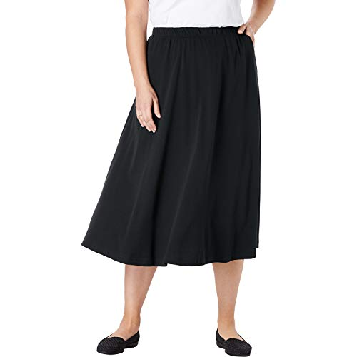 Woman Within Women's Plus Size 7-Day Knit A-Line Skirt - Black, L