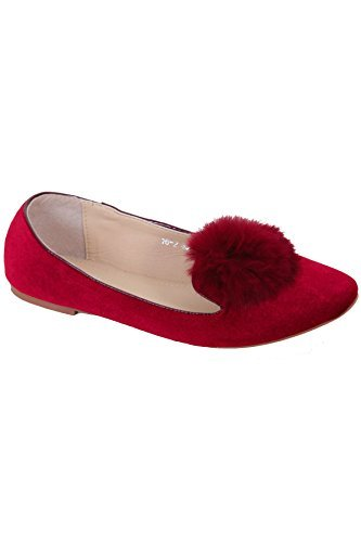 Ball FANTASIA Red Slip Pom Pumps Flats Pom Fluffy Velvet Ladies BOUTIQUE Ballet Dolly On ® Fur Shoes raxqfvwr