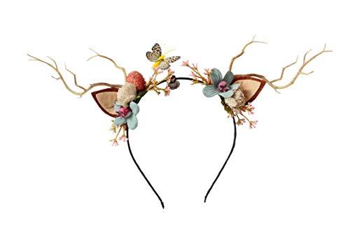 Deer Antler Hair Band Cat Ear Headband Deer Headband with Flowers Cat Ear Hair Band Flower Headband for Party Cosplay Costume by Vivivalue