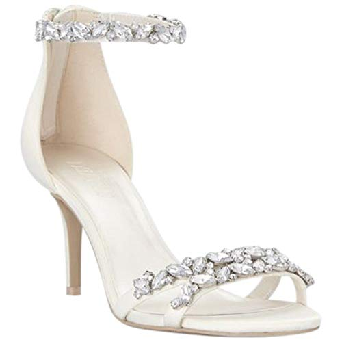 Jeweled Satin Ankle Strap Heels Style Arden, Ivory, 9.5 Dyeable Satin Wedding Platform Shoes